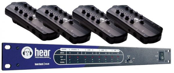 HEARBACK Personal Monitor Mixer System 4 x Mixers, Hub, Loom and Cabling