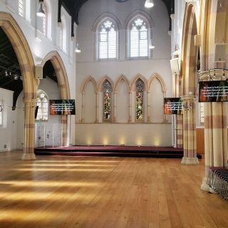 """86"""" screen installation earlier this year in Cambridge.  Including DM custom designed and built brackets.  #churchav #churchinstall #avinstall"""